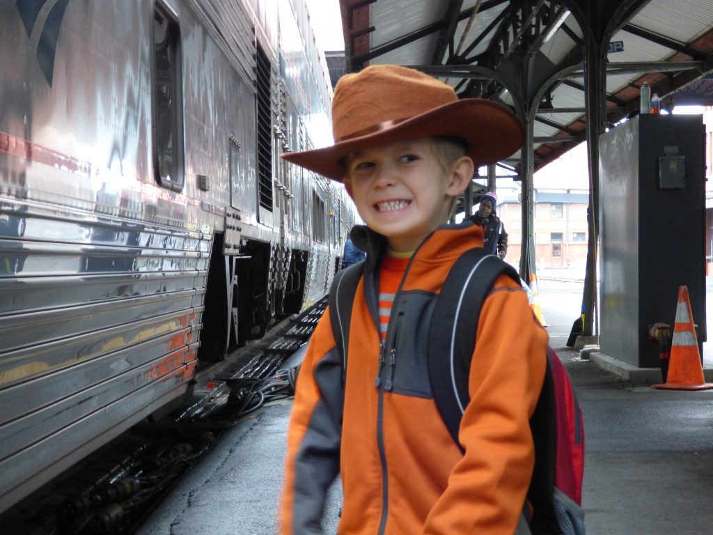Waiting to Board the Amtrak Train at LA Union Station