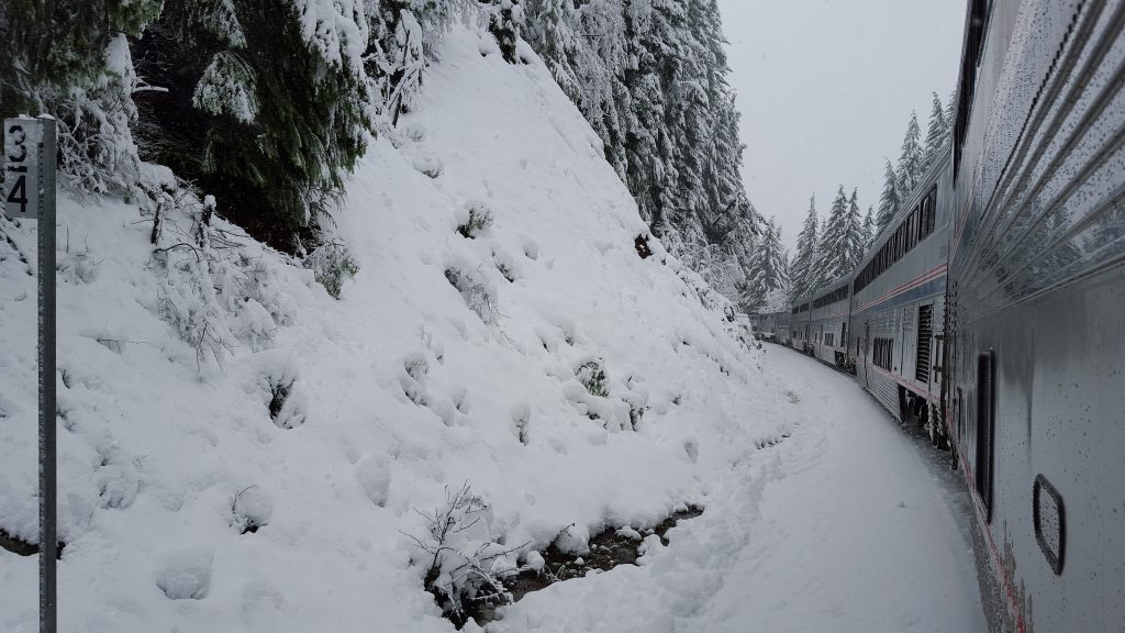 The Amtrak Coast Starlight Train Winding Through the Cascades