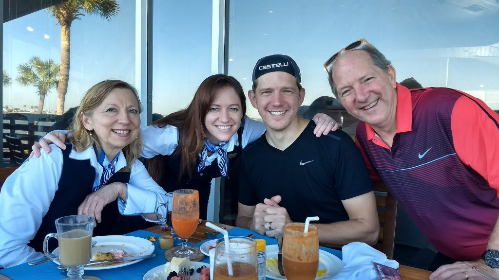 My mom, sister, my father & I having brunch at the Sandcastle religious retreat